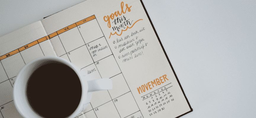 calendar with coffee cup